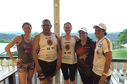 Photo(L-R) : Goondir Health Services' Rachael Smith, Floyd Leedie, Louise Sanderson; with North Coast Aboriginal Corporation for Community Health's Nicole McDermott and Sharelle Eggmolesse.